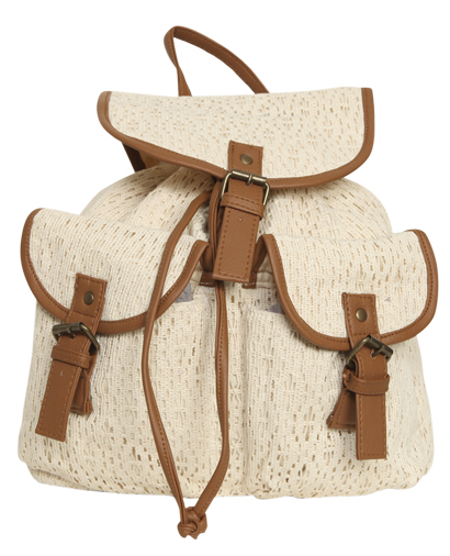 Crochet leatherette trim backpack