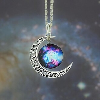 jewels moon necklace galaxy necklace