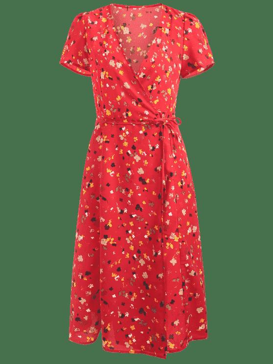 Robe Cache-coeur Florale Mi-longue