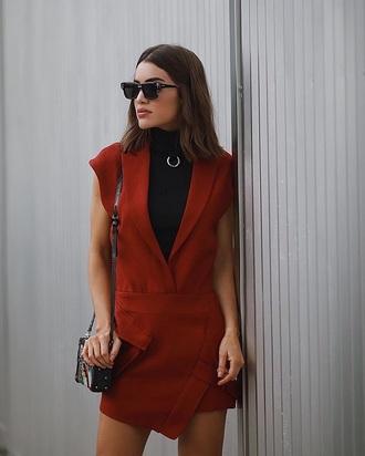 dress mini dress bag sunglasses burgundy burgundy dress sleeveless sleeveless dress shoulder bag