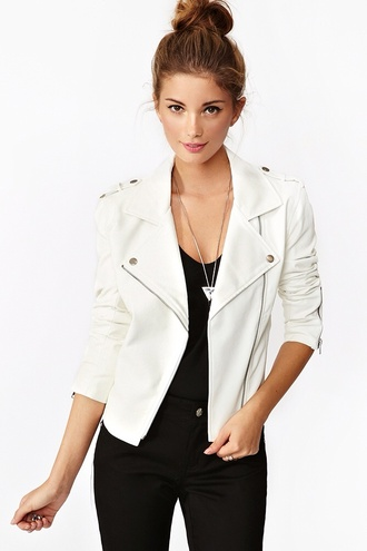 jacket leather jacket white jacket