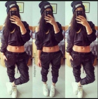 sweater baggy leather pants gold zips cropped jumper gold chain