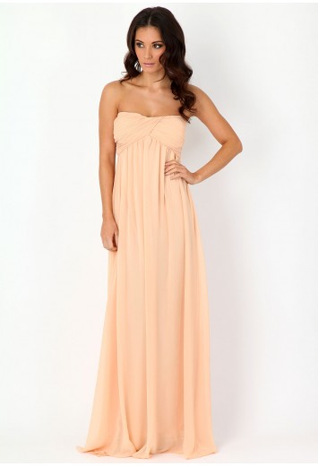 Harriet Gathered Chiffon Look Maxi Dress - dresses - missguided