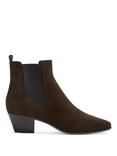rock chelsea boots suede khaki shoes
