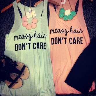 shirt necklace pink blue top tank top t-shirt print statement necklace shoes hair accessory