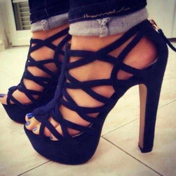 black heels caged pumps party outfits clubwear high heel sandals shoes high hells shooes noir trou heels black high heels dark blue royal blue zipper heels blue strappy heels