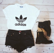 t-shirt,top,shorts,shoes,adidas,shirt,adidas wings,boots,style,outfit,clothes,white t-shirt,vogue,adidas shirt,black ripped shorts,summer shorts,b&w,grunge,adidas white black tee-shirt,black white.   addidas,blouse,black cheap shorts,earphones,black,High waisted shorts,hat,adidias,white,black and white,urban,girly,classy,candle,yeah bunny,gold ring,fall outfits,hipster,boho,pastel,suede,black boots,black shorts,ripped shorts,denim shorts