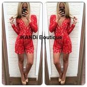 romper,jumpsuit,red printed dress,red romper,plunge v neck,v neck,floral romper,red playsuit,shorts,long sleeves,holiday dress,holiday outfit,ibiza,sexy,sexy dress,floral,red dress