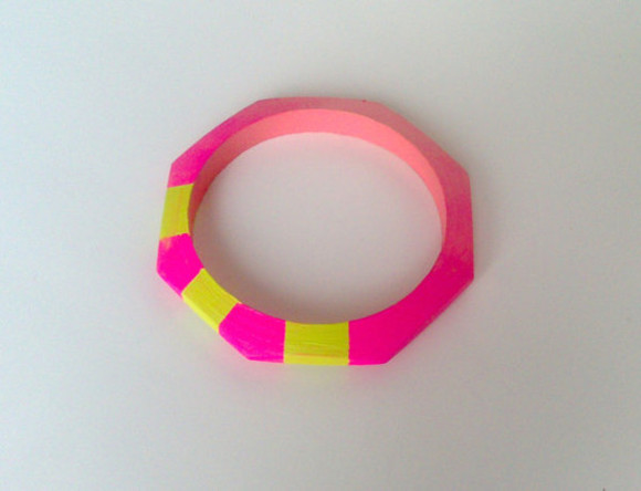 colour block jewels cuff neon pink yellow stylish