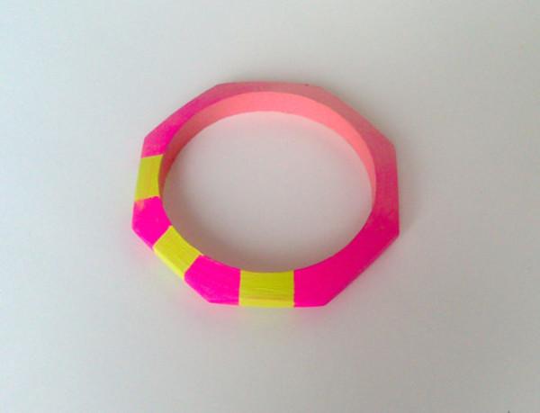 jewels jewelry cuff neon pink yellow stylish colour block