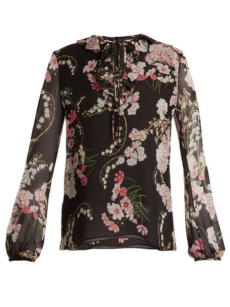 GIAMBATTISTA VALLI blouse print silk black top