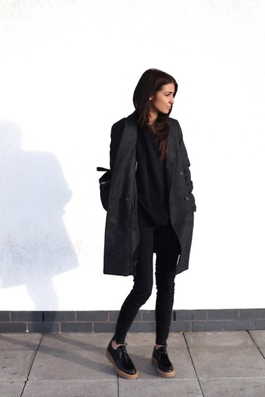 coat black coat black outfit black shoes