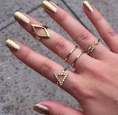 jewels,ring,knuckle ring,boho,coachella,festival,gold,bague,nail accessories,pacsun,gold ring,arrow,nail polish