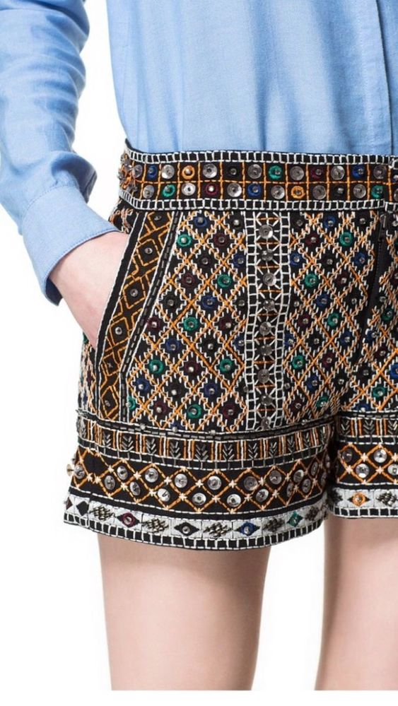 Zara Bloggers Fav Sequin Beaded Embellished Embroidered Shorts M S | eBay