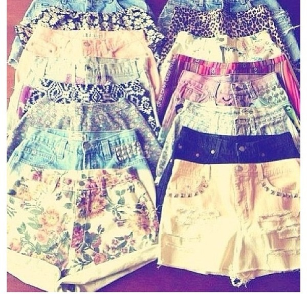 pants shorts floral denim pattern studs