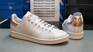 hot sale online 171cb afece Womens Adidas Stan Smith Copper White Kettle Snakeskin Metallic Rose Gold  Yeezy