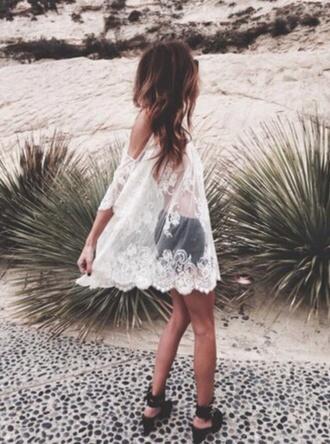 dress white flowers transparent dress summer dress beach dress