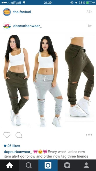 pants dope ripped sweatpants urban