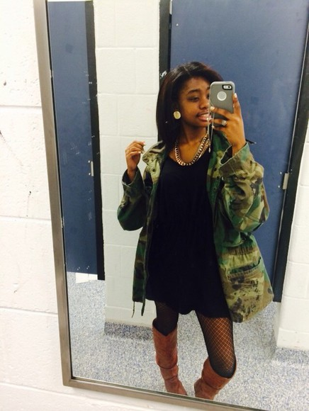 fishnet jacket camo jacket little black dress army green jacket brown leather boots