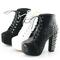 Womens black white spike stud lace up high chunky heel platform shoes boots size | ebay