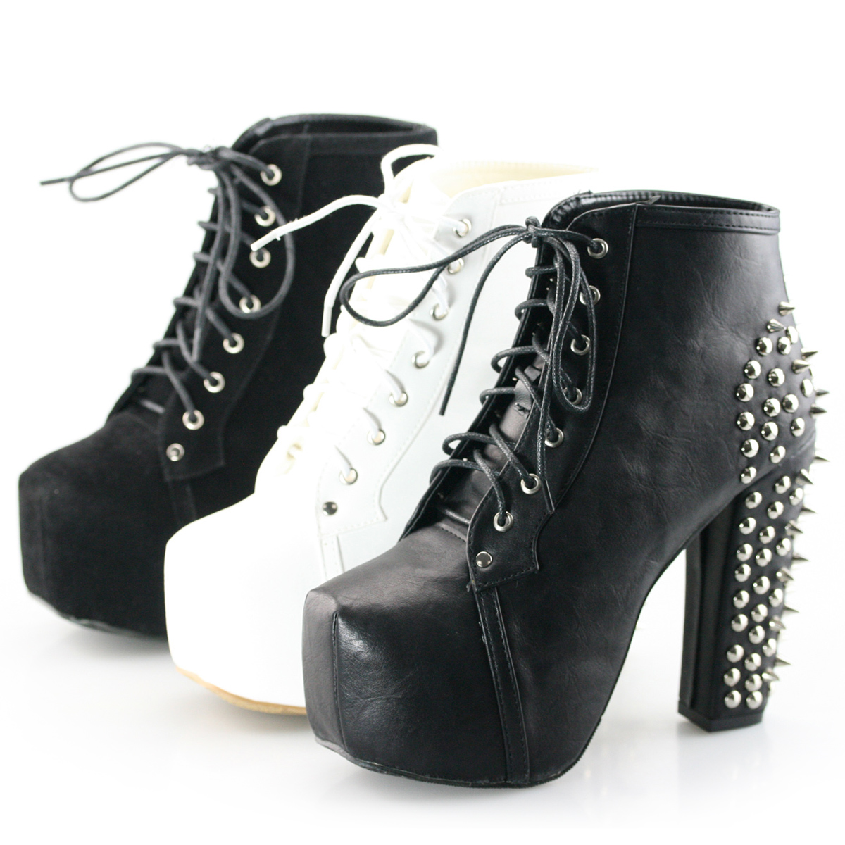 Black White Spike Stud Lace Up High Chunky Heel Platform Shoes ...