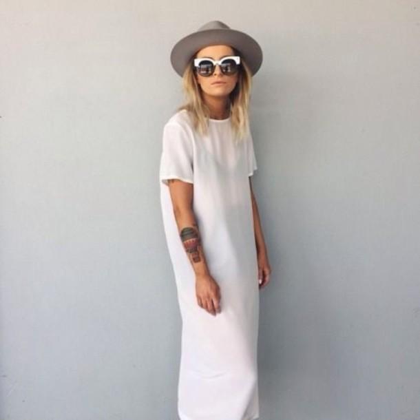 dress white t-shirt dress sunglasses white maxi dress maxi dress