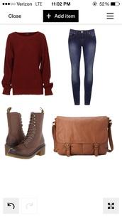 bag,messenger bag,jeans,shoes