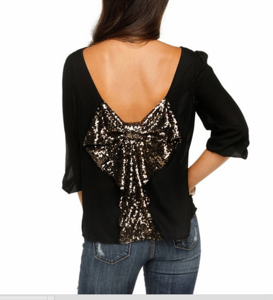 blouse bow back blouse black gold pretty fabulous