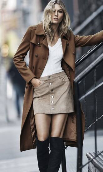 coat skirt karlie kloss model top boots fall outfits editorial trench coat suede skirt button up skirt brown coat fall colors