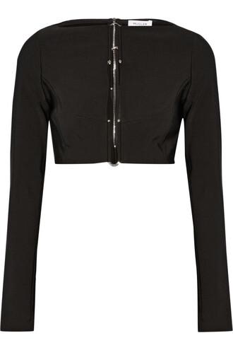 top cropped embellished black