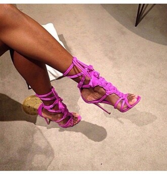 shoes heels sandals high heels pink purple shoes purple pink shoes lace up lace up sandals strappy style