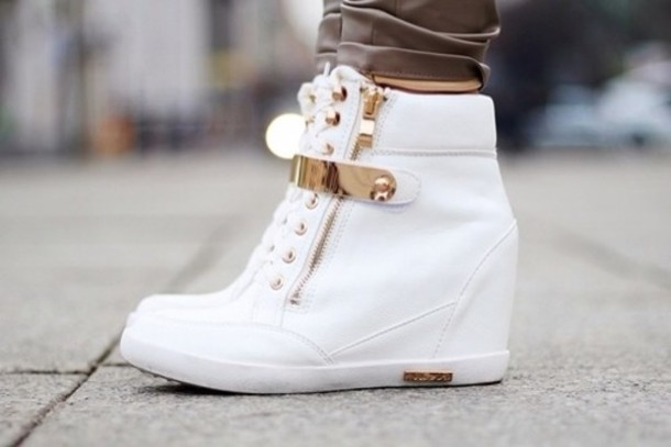 shoes white gold sneakers