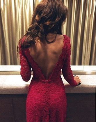 dress sexy red lace red lace dress burgundy prom matric dance dress longsleved dress red dress long red dress long sleeve dress long sleeves lace dress backless dress