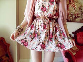 dress,floral dress,cute outfits,casual dress,hipster,white,flowers,cute,pink flower dress,flowy,doll,belt,cute dress,blouse,girly,white dress,red dress