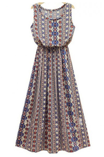 KCLOTH Blue Sleeveless Geometric Tribal Print Maxi Dress
