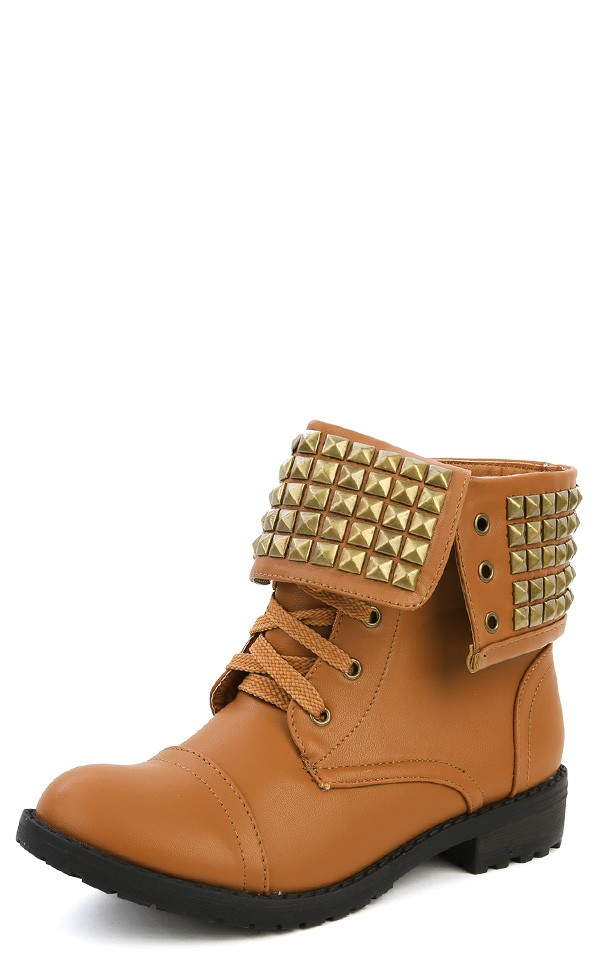 Duchess Zalia-2 Cognac Fold Over Studded Cuff Combat Boots and ...