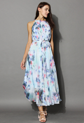dress,tranquil blue watercolor floral maxi slip dress,chicwish,maxi dress,print dress,floral dress