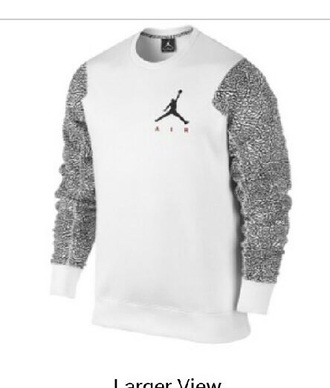 shirt jordan fleece crew white and gray guys