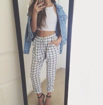 pants white grid grid pants white grid black and white