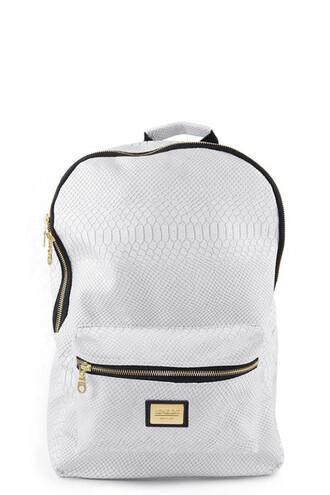 bag back to school snake crocodile white rucksack snakeskin gold white zip zips pockets bag