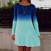 dress,casual dress,dip dyed,long sleeve dress,mini dress,shirt dress