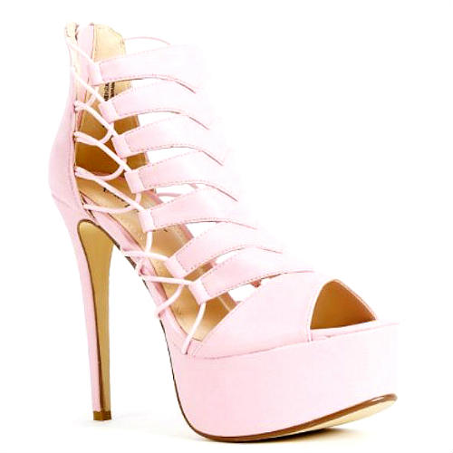 Flashback mauve white peep toe strappy pump platform stiletto heel
