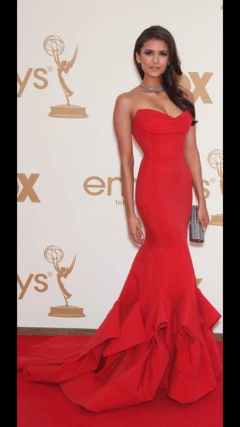 Dress: red dress, nina dobrev, emmys, long dress, sleeveless dress ...