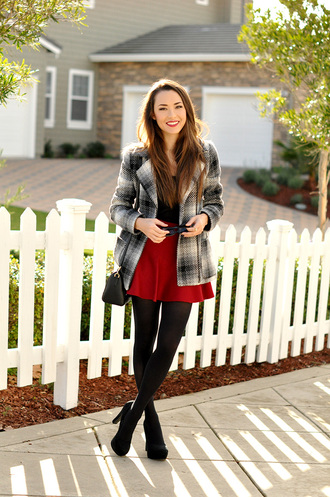 hapa time blogger coat red skirt skater skirt black heels skirt top tights shoes bag