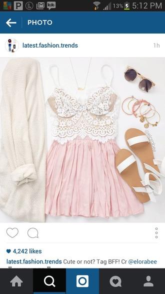 skirt white sandals sunglasses gold pink skirt white lace top lace white pink sandals crop tops cardigan