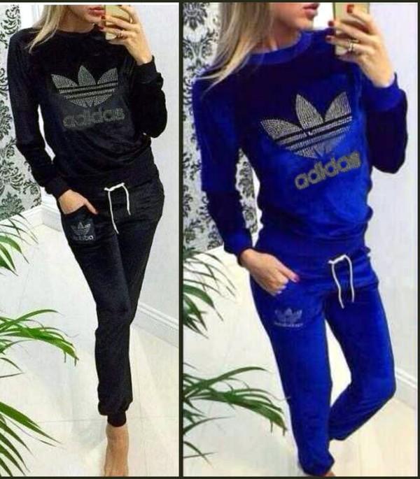 Adidas Velvet Tracksuit Womens Black l-d-c.co.uk 819ed5c6af