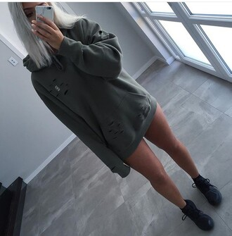 t-shirt tumblr outfit tumblr oversized sweater ripped cute grunge sweater khaki green jumper yeezy swag jacket hoodie distressed clothing army green green sweater
