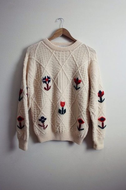 sweater flowers cute pullover vintage pullover winter sweater warm