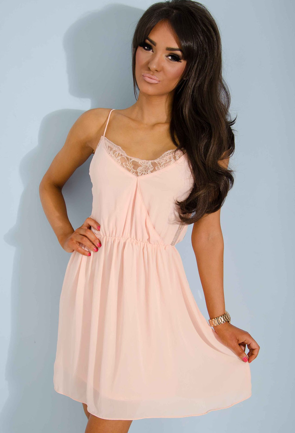 Libre Peach Chiffon and Lace Detail Mini Dress | Pink Boutique