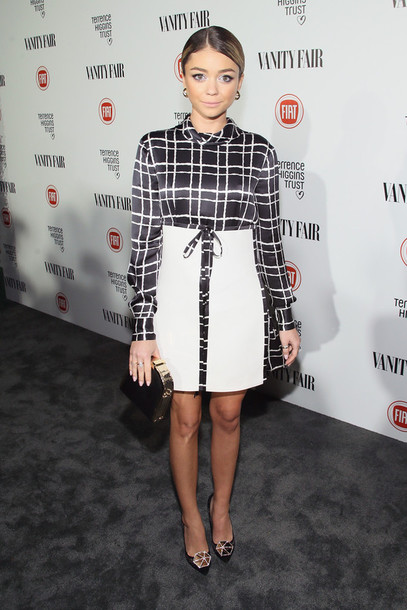 dress black and white sarah hyland pumps shoes